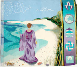 Woman on beach tapestry image